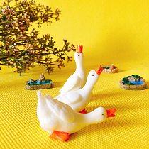 3pcs goose/cute pond/pool/miniatures figurine/fairy garden gnome/terrarium home table decoration/crafts/diy supplies/toy/model