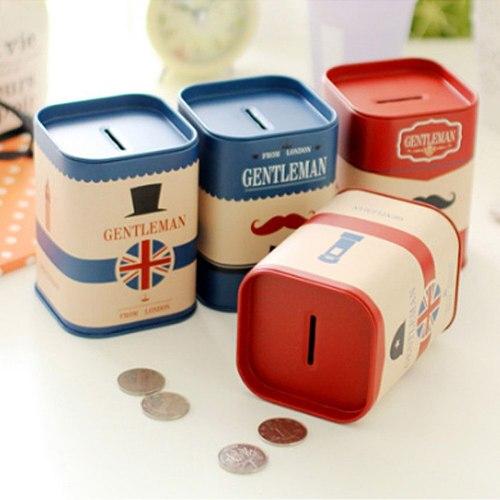 Tin Plate box Money Saving Pot Coin Box  2021 Jewelry Box Storage Tank Gift Personalise Square piggy bank Logbook Series