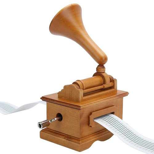 Phonograph Music Box Wooden Hand-cranked Phonograph Shape Music Box for Christmas Birthdays
