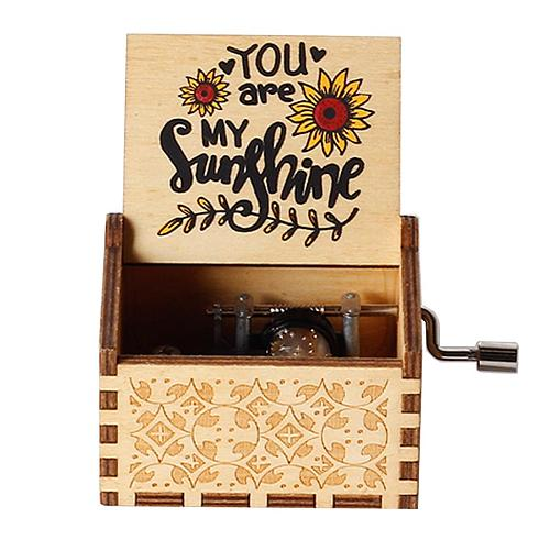Hand-carved hand-cranked music box  You are my sunshine  music box is a gift from mom and dad, birthday gift, Christmas gift
