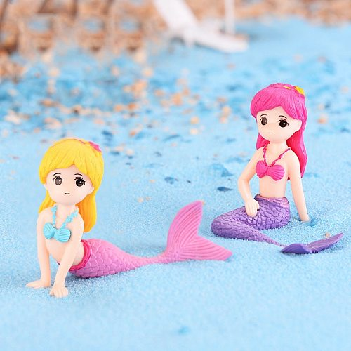 1pcs Sexy Mermaid Fairy Garden Miniatures Gnomes Moss Terrariums Resin Crafts Figurines for Home Decoration  Mini Figures