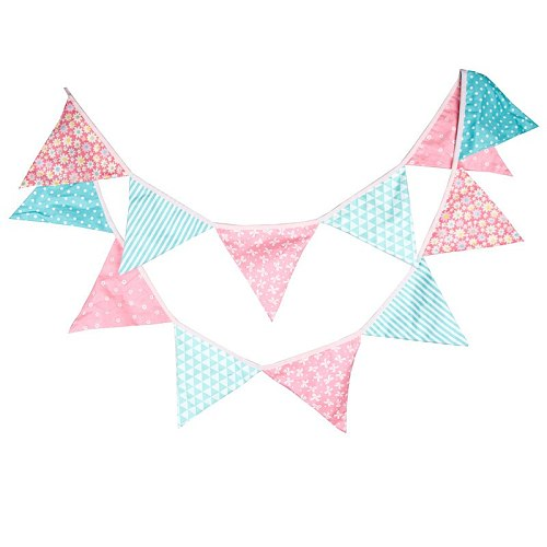 12 Flags 3.2m Fashion Cotton Fabric Bunting Pennant Flag Banner Garland Personality Birthday Home Party Decoration Accessories