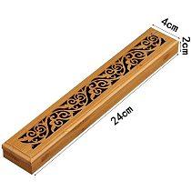 2 shape Bamboo Wooden Incense Stick Holder Burning Joss Insence Box Burner Ash Catcher