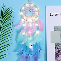Wall Dreamcatcher Led Handmade Feather Dream Catcher Braided Wind Chimes Art For Room Decoration Hanging Home Decor Poster