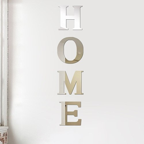 HOME Characters Mirror Stickers Self-Adhesive Acrylic Letters Mirror Stickers Decals On Wall Home Art Craft Decoration