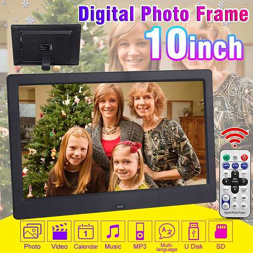 10 Inch 1024x600 HD Digital Photo Frame Picture Electronic Album Mult-Media Player MP3 MP4 Alarm Clock with Remote Control Gift