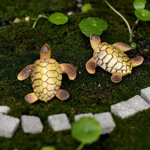 2Pcs Mini Sea Turtle Model Resin Turtle Figurines Fish Tank Decoration Fairy Garden Miniature DIY Terrarium Landscape