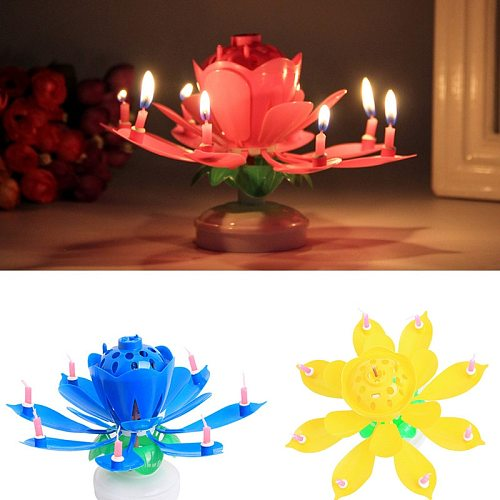 8/14pcs Candle Lotus Flower Rotating Happy Birthday Musical Candle Party DIY Cake Decoration Candles For Children Birthday Gift