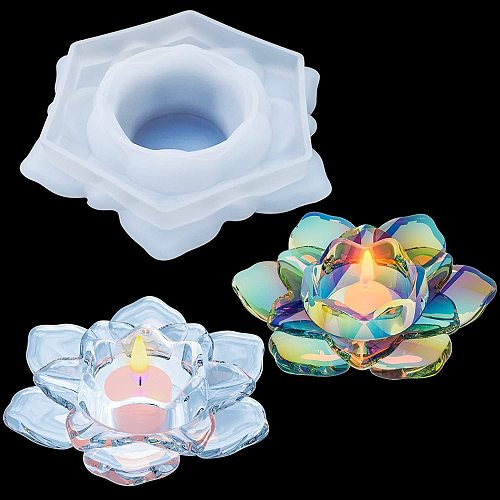 DIY 3D Lotus Candle Holder Silicone Mold Epoxy Resin Flower Candles Holders Mold Craft Decoration Tool DIY At Home Making Tool