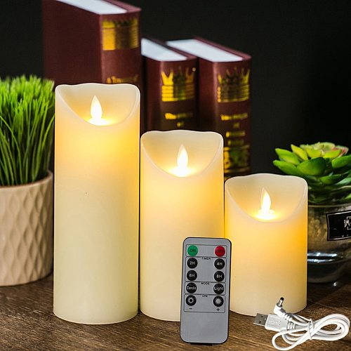 Rechargeable Flameless Candles Lights, LED Candles Light Smooth Flickering Candle Light with Timer Remote Control for Home Decor