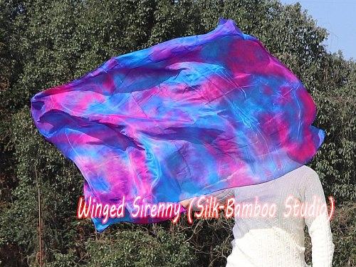 1 piece 2.2m*0.9m(88 *34 ) 5mm silk worship flag/banner, Mermaid Dream