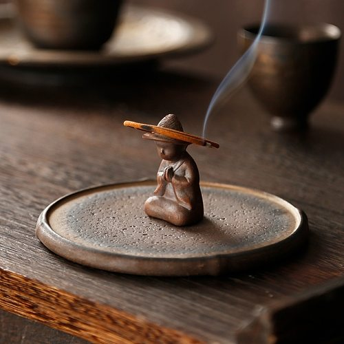 Stoneware plate incense burner household aroma diffuser indoor creative ceramic incense stick incense stand