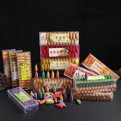 52PCS Mixed Incense Cone with Tray Colorful Fragrance Scent Tower Incense Mixed Scent Aromatherapy Fresh Air Aroma Spice
