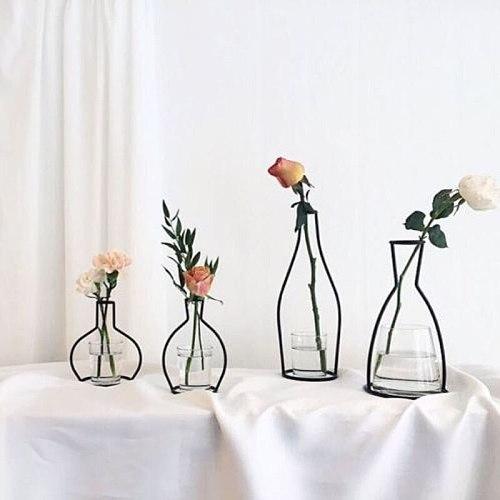 Brand New Style Retro Iron Line Flowers Vase Metal Plant Holder Modern Solid Home Decor Nordic Styles Iron Vase