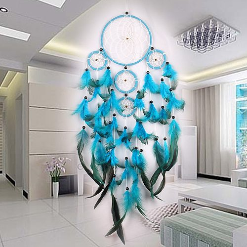 Wind Chimes Handmade Dream Catcher Net With Feathers Wall Hanging Dreamcatcher Craft Gift Christmas Decoration For Home
