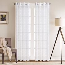 Simple and Elegant Solid Color Tulle Curtains for Window Living Room Bedroom White Sheer Voile
