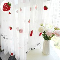 Cute Strawberry tulle curtains for girl kids room curtains living room  bedroom window white embroidered sheer