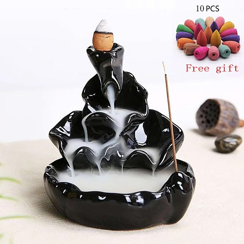 Office Home Mountains River Waterfall Incense Burner Fountain Backflow Aroma Smoke Censer Holder Unique Crafts+10 Incense Cones