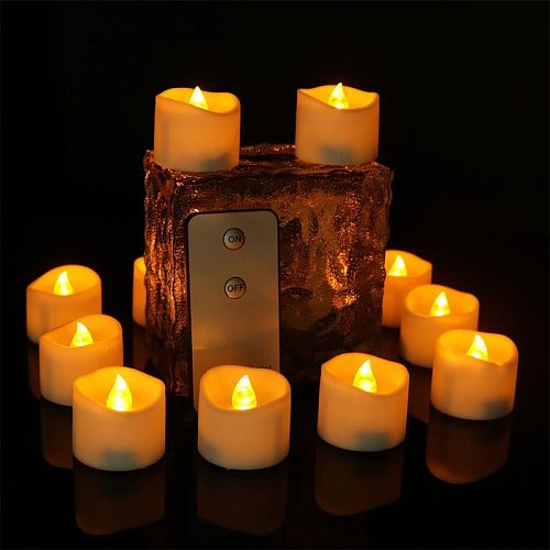 12pcs/Pack LED Candles With Flickering Flame 3.6x3.4cm Remote Battery Operated LED Tea Light Candles Home Decoration Wedding