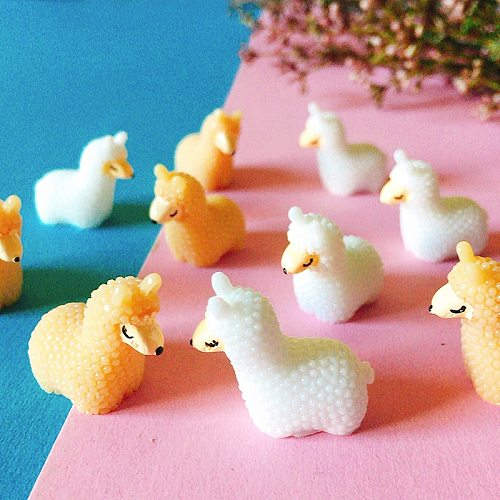 10Pcs/Alpaca/miniatures/lovely cute animals/fairy garden gnome/moss terrarium decor/crafts/figurine/statue/diy supplies