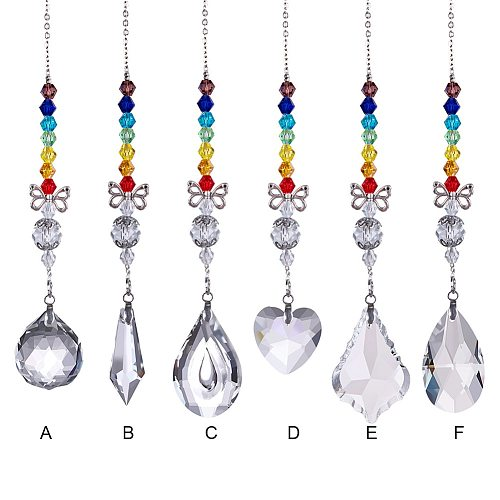 Cartoon Crystal Pendant Necklace Heart Leaf Jewelry Charm Fashion Accessory Garden Decoration DIY Neck Chain Wind Chime Ornament