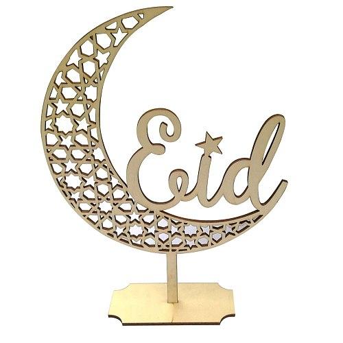 Wooden Crafts Ornaments Creative Eid Mubarak Ramadan Moon Hollow Letters Figurines Festival Miniatures Crafts Decoration 2021