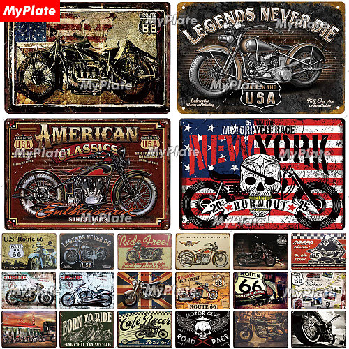 Motorcycl Metal Sign Vintage Plaque Tin Sign Wall Decor For Garage Club Plate Crafts Art Route 66 Poster Gift Custom Wholesale