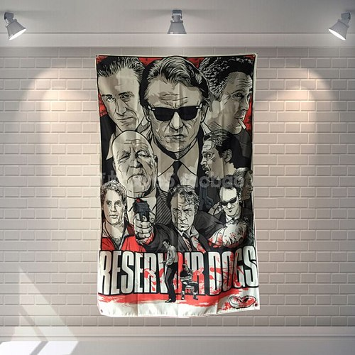 Reservoir Dog  Classic Movies Cloth Flag Banners & Accessories Bar Billiards Hall Studio Theme Wall Hanging Decoration