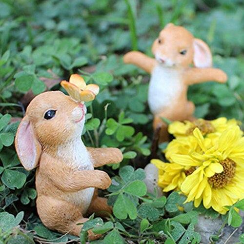 5PCS Set Miniature Figurines Animal Rabbit Statue Set Fairy Tale Garden Ornament Plant Pot Micro Landscape Garden Ornament