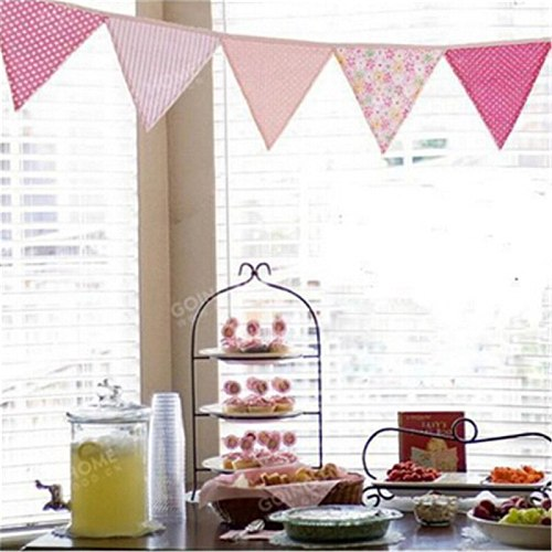 12 Flags Fashion Fabric Bunting Pennant Flag Banner Garland Personality Birthday Home Party DIY Kids Decoration Accessories