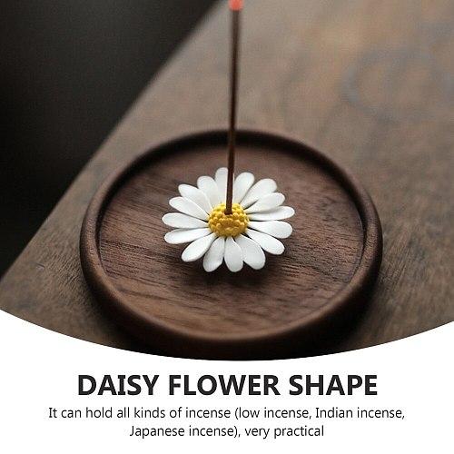 1Pc Decorative Incense Holder Ceramic Incense Plate Incense Stick Rack (White)