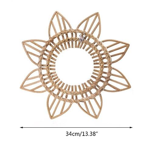 Sun Shape Decorative Mirror Rattan Innovative Art Decoration Round Makeup Mirror 72XF
