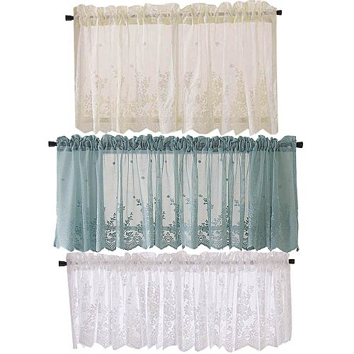 Modern Lace Jacquard Window Curtain Valance Lace Hem Coffee Short Curtain for Cabinet Door Bedroom Home Decor