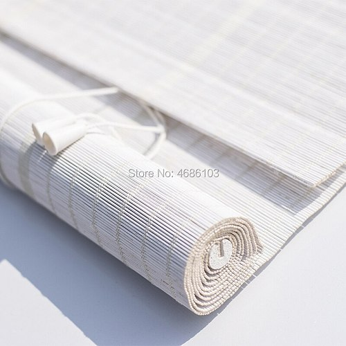 White color bamboo roller blinds window roller blinds blackout roller blinds printed curtain shutter curtain vintage porch