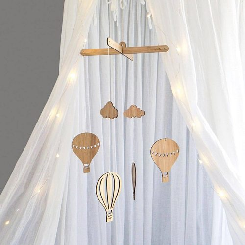 Wooden Hot Air Balloon Wind Chime Baby Bed Bell Kids Room Decoration Wall Hanging Ornaments Nursery Decor Photo Props  #V