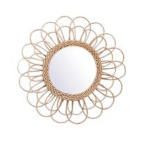 Rattan Dressing Mirror Innovative Art Decor Round Mirror Living Room Wall Hanging Mirror Bathroom Decoration Makeup Mirror