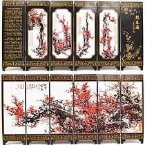 New Wooden Chinese Handmade Classical Flower Lacquer Six Pieces Folding Screen