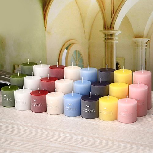 Smokeless Classical Candles Romantic Birthday Wedding Candle Ivory White Small Classic Cylinder Candle Large Christmas