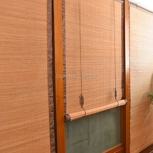 2020 New arrival Retro Chinese Tea House Copper hook bamboo curtain roller shutter window roller blinds for indoor decoration