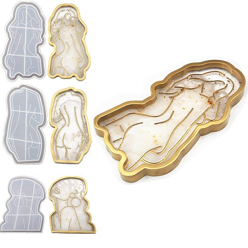 DIY Handmade Epoxy Crystal Resin Silicone Mold Girl Candle Body Women Model Art Cup Abstract Plate Mirror Tray Coaster Holder