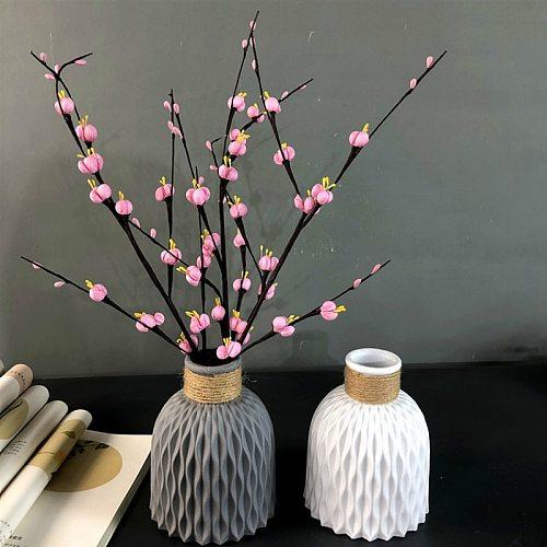 Can't hold water ,Flower Vase Decoration Home Plastic Vase Imitation Ceramic Flower Pot Flower Basket Arrangement Decoration