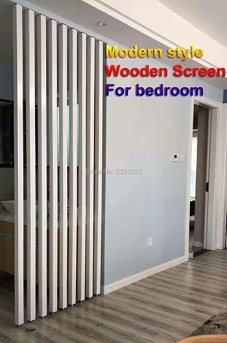 American style white Solid wood screen No punching Porch Screen for Living room Vestibule Screen wood column decor for bedroom