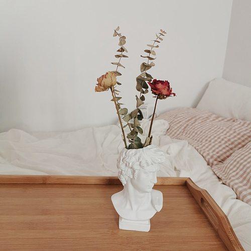 W&G Modern Nordic Style Creative Portrait Vase Human Head Flower Vases Decorative Ornaments Resin David Home Flowers Art Decor