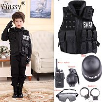 Children Hunting Military Tactical Army Vest Kids Airsoft Gear Combat Armor Uniform Boy Girl Swat Police Outdoor Cosplay Costume