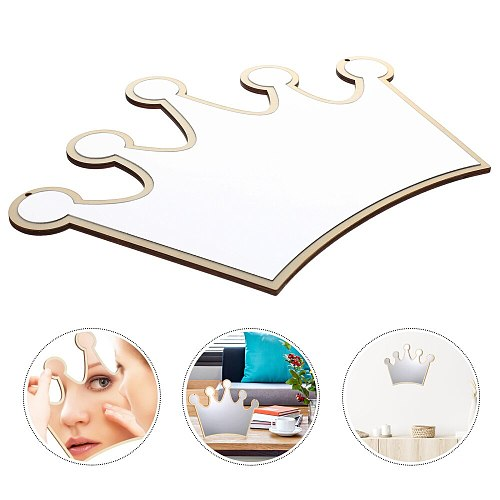 1pc Chic Crown Shape Acrylic Mirror Ornament Kids Room Wall Mirror Pendant