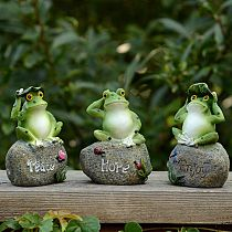 1pcs 5 Inch Frogs Figurine Outdoor Garden Cute Letter Model Frogs Miniature Decoration Mini Fairy Garden Animal Statue Crafts