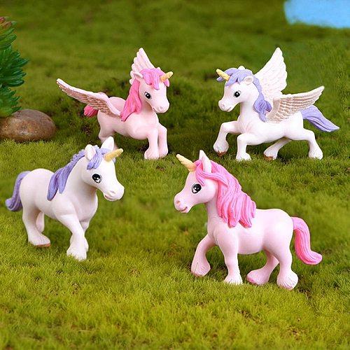1PC Unicorn Figures Fairy Animal Miniature Garden Figurine Cake Party DIY Desk Decoration Gift