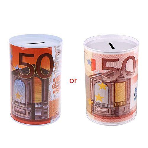 Creative Euro Dollar Metal Cylinder Piggy Bank Saving Money Box Home Decoration 667A