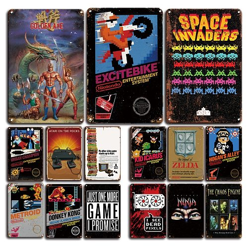 Video Game Metal Poster Tin Sign Vintage Super Mario Wall Stickers Man Cave Gamer Room Decor Plaque Metal Signs Decorative Plate