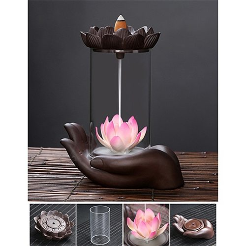 The Lotus Pond Frog Windproof Handmade Backflow Incense Burner Home office Tea House Decorate Ceramic Incense Fountain